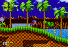 Sonic the hedgehog, who happens to be blue and very fast, is collecting golden rings, likely to pawn them for dope money.